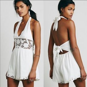 Free People Day Dream White Lace Romper XS